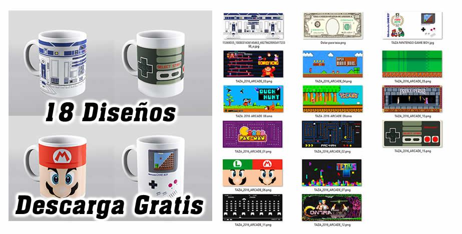 Diseños tazas videojuegos arcade