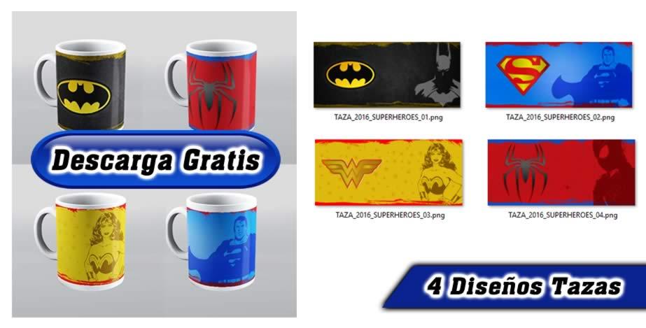 Tazas super heroes, batman, super man, mujer maravilla, spiderman