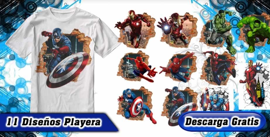 Playeras superheroes marvel pared