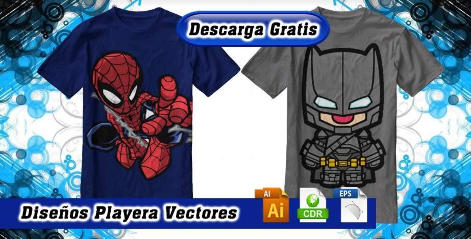 Diseños playeras spiderman iron batman
