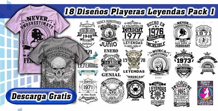 Diseños playeras leyendas 18 vectores