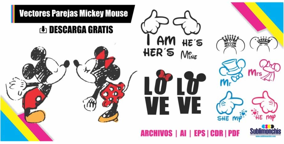 parejas novios mickey mouse vectores