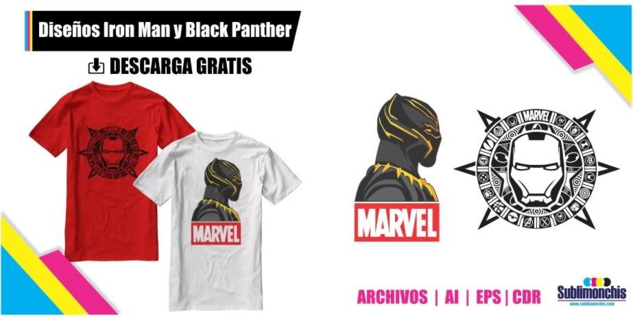 Vectores Playeras Black Panther Iron Man