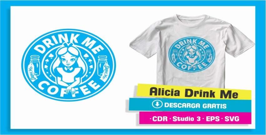 Alicia Drink Me Coffee Vector Vinil Textil