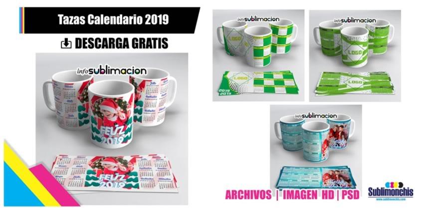Plantillas Tazas Calendario 2019