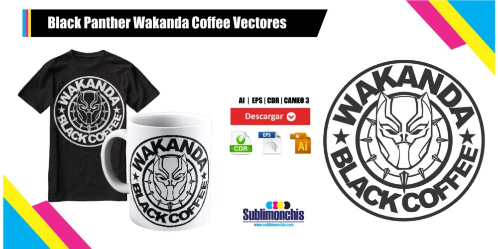 Black Panther Wakanda Coffee Vectores Gratis