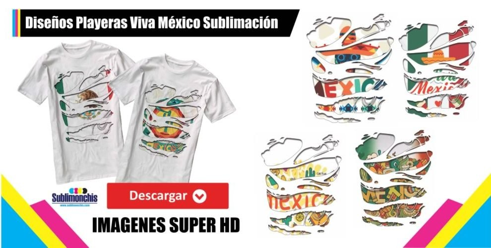 Diseños Playeras Viva Mexico para Sublimacion