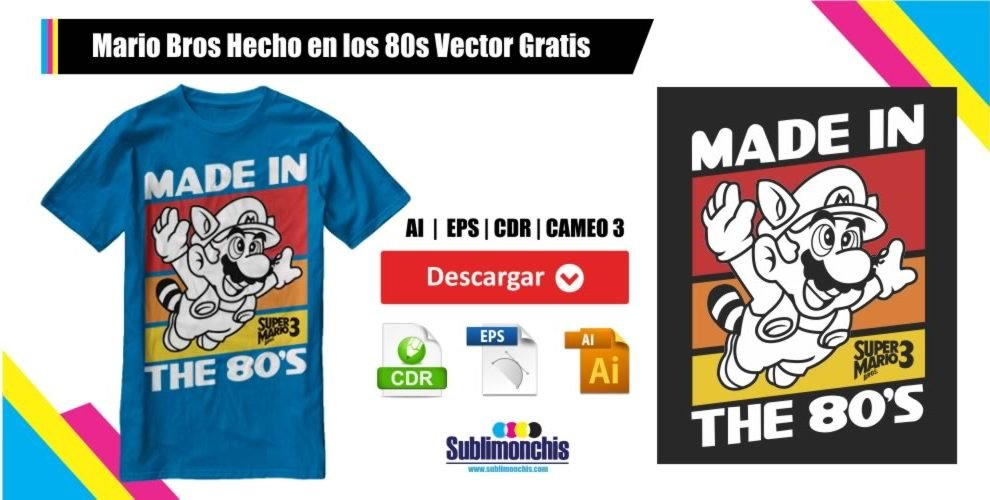 Mario Bros Hecho en los 80s Vector Gratis