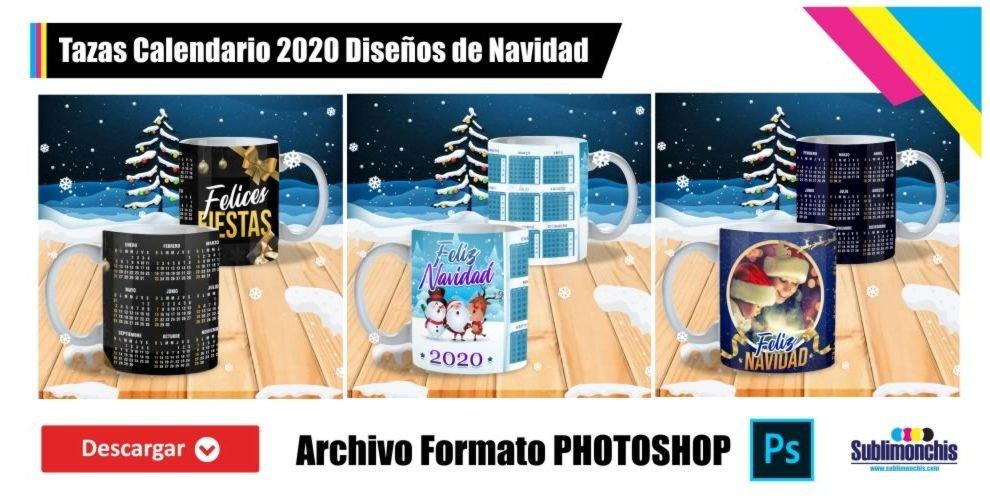 Plantillas Tazas Calendario 2020 Navidad