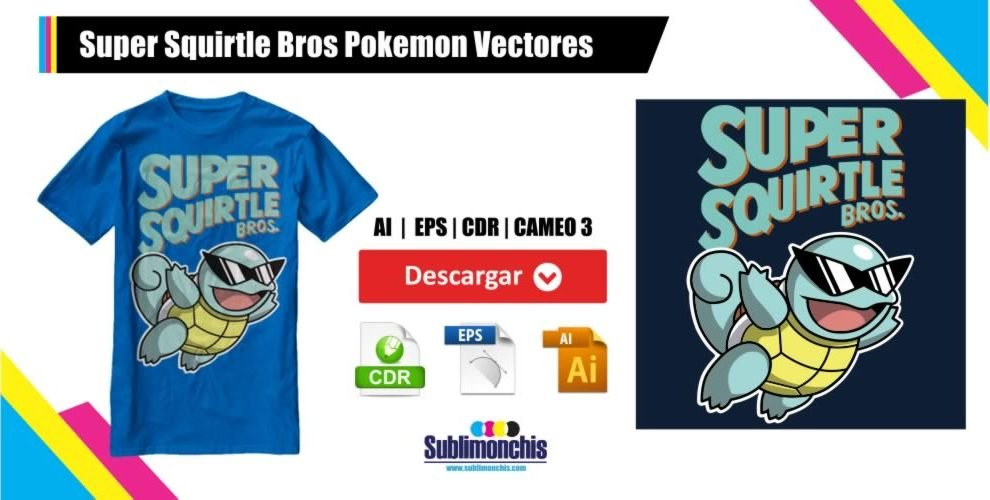 Super Squirtle Bros Pokemon Vectores