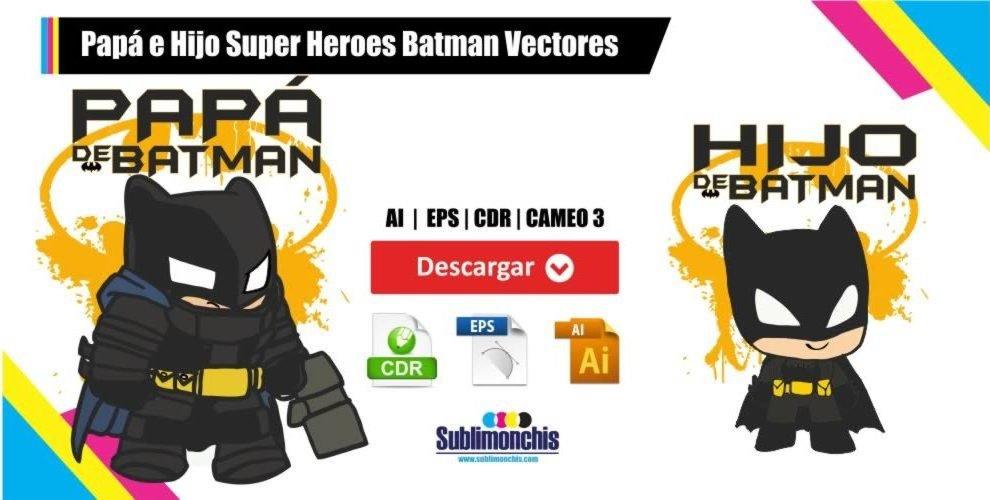 Papa e Hijo Super Heroes Batman Vectores