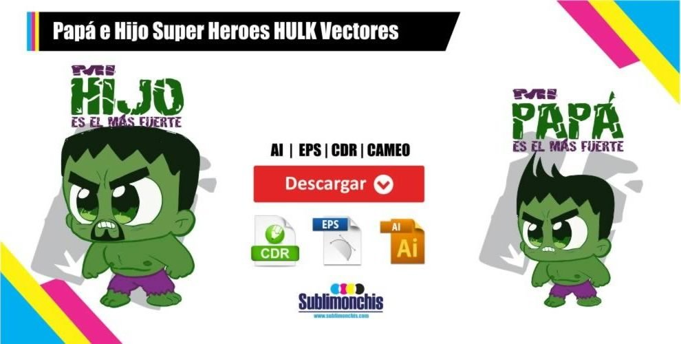 Papá e Hijo Super Heroes HULK Vectores