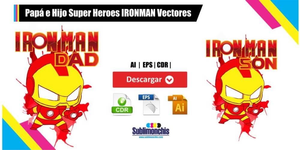 Papá e Hijo Super Heroes IRONMAN Vectores